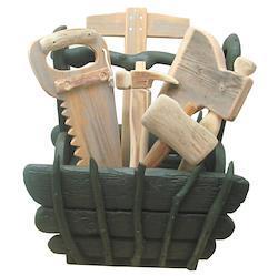 流木ツールボックス(カーペンターツール グリーン系)オブジェ[lc28]