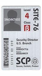 SCP財団 認証カード 記名式 合衆国支部セキュリティ責任者