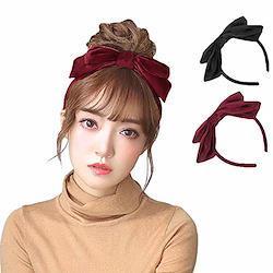 ベロアリボンカチューシャ リボン lolita 髪飾り 可愛い ol ヘアアクセサリー 手作り ヘアバンド (ワインレッド)