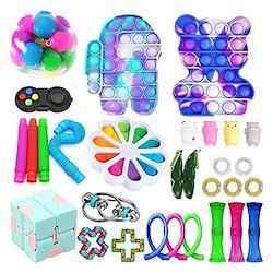 30パックTik Tok Fidget TOYSパック、ストレス、不安救済感覚フィジットおもちゃセット、子供の大人のためのプッシュバブルポップ玩具 (Color : D)