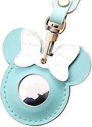 WY Groceries ミッキーマウス Airtags保護カバー 牛革製 可愛い Apple Airtagキーホルダー用、レザーAirtagsホルダーアンチロストケース、Bluetoothトラッカー