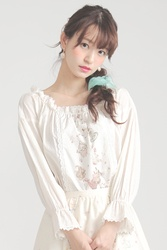 【direct sales】Falling Alice Shirring Blouse  Color:OffWhite