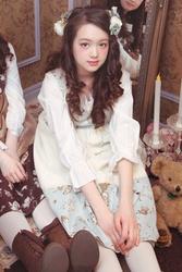 【direct sales】Antique Alice Velveteen Dress  Color: Ivory×LightGrayishBlue