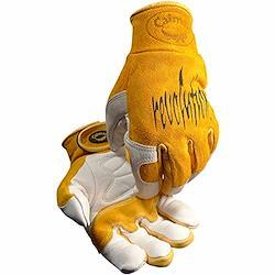 Caiman カイマン Revolution レボリューション カウ グレイン (牛表革) / ピッグ スプリット (豚漉き革) ライナーレス MIG溶接 / 多目的 グローブ ショートカフ (XL)