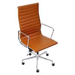 イームズアルミナムチェア ハイバックチェア 本革 キャメル キャスター 肘掛け クロムメッキ クロームメッキ 回転 昇降 高さ調節 レザー オフィスチェア ロッキングチェア ミーティングチェア 椅子 いす イス チェアー 会議室 書斎 1010lcamel