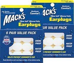 Macks Pillow(マックスピロー) Soft シリコン耳栓 #7 透明 6ペア×2セット【正規輸入品】