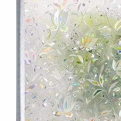 Homein 窓ガラス目隠しシート ステンドグラスシール uvカット 断熱 水で貼る 剥がせる 貼り直し可 網入りガラス/ペアガラス/賃貸適用 ガラス飛散防止 結露防止 おしゃれ花柄 虹色 90x200cm 90x200cm 花信風