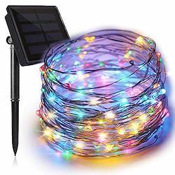 イルミネーションライト ソーラーフェンス 屋外 気分で選べる8パターン点灯できる 100球 10M IP65防水で雨や雪が降る日でも心配なし 誕生日パーティー・結婚式などの飾りレインボー4色