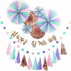 YOU+ 誕生日 飾り付け ガーランド 男の子 女の子 セット 飾り ペーパー バースデー HAPPY BIRTHDAY お洒落 かわいい (ローズ)  ローズ