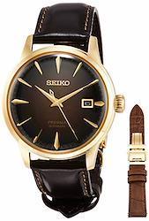 [セイコーウォッチ] 腕時計 プレザージュ メカニカル 機械式 限定8%カンマ%000本 替えバンド付き 琥珀色文字盤 ボックス型ハードレックス シースルーバック SARY134 メンズ ブラウン  文字盤色-ブラウン