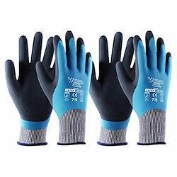 T4U 作業用 手袋 グローブ ガーデニング 耐摩擦性 滑り止め 防水加工 園芸用 軍手 多用途 Mサイズ 2ペア ブルー