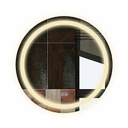 Bacoer ミラー 鏡 LED 壁掛け 照明付き 化粧鏡 洗面所 洗面台 おしゃれ 暖色 白色LED内蔵 色温度3000-6000K調節可能 (60CM*60CM)