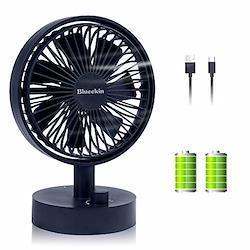 Blueekin 自動首振り 卓上扇風機 超静音 小型 USB扇風機 充電式 ミニ扇風機 7枚羽根 超強風 4000mAh大容量バッテリー 長時間連続使用 省エネ おしゃれ(ネイビー)