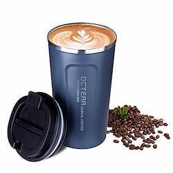 OCTERR マグカップ 保温 コーヒーカップ コンビニカップ 携帯マグ 保冷 タンブラー 真空断熱 ステンレス製 蓋付き 持ち運び 直接ドリップ プレゼントに 510ML ネイビー