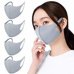 【Amazon限定ブランド】マスク さらっと 4枚組 男女兼用 フィット感 耳が痛くなりにくい 呼吸しやすい 伸縮性抜群 立体構造 丸洗い 繰り返し使える 大きめ Lサイズ グレー Home Cocci 3. Lサイズ(大きめ) 3. グレー