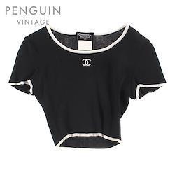 CHANEL クロップド丈 チビ丈 ココマークニット カットソー 半袖Tシャツ ブラック P3435