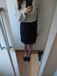 ウィルセレクション スカート 夏用 花刺繍 ネイビー 裏地あり 人気