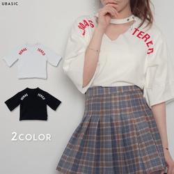 ロゴプリント深Vネック5分袖Tシャツ