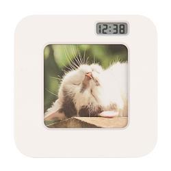 ましかくフォトフレームクロック 写真立て 置き時計 白 ホワイト ADDESO アデッソ 大量注文可能 MS-01W お取り寄せ