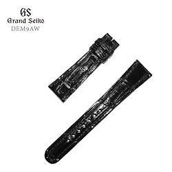 GRAND SEIKO グランドセイコー 紳士用 純正バンド 黒(艶あり) ブラック 本ワニ革 カン幅:19mm 替えバンド DEM9AW お取り寄せ