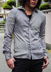 Symmetric Cut Stretch Shirt - Gray