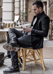 Balancircular Wool One Button Jacket - Black×White Size0