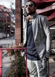 Acrylic Coated Zip Up Track Jacket - Gray