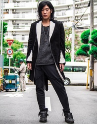 Corduroy Zip Bi-Color Chester Coat - Black×White