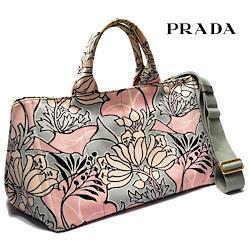 PRADA ハンドバッグ カナパGM キャンバス 花柄 ピンク グレー B2642B