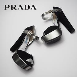 PRADA オープントゥサンダル アンクルストラップ 黒色 スエード 37サイズ 23.5cm